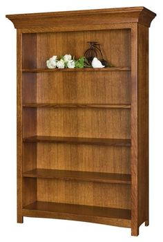 Amish Bridgestone Bookcase The Bridgestone is built to meet your needs and look stunning while doing so! Available in 6 heights. Shelves are adjustable. You can add doors in wood or glass. Built in choice of wood and finish. Amish furniture that offers options!