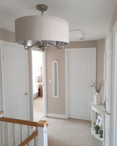 So I can now reveal my new ceiling lights, now they are finally up….say hello to the gorgeous Burford lights from Next 👌🏼 I'm… hallway walls Hallway Wall Colors, Hallway Walls, Upstairs Hallway, Hallway Inspiration, Home Decor Inspiration, Decor Ideas, Home Living Room, Living Room Decor, Small Hallway Decorating