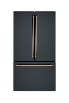 Counter-Depth French-Door Refrigerator // Matte Black Refrigerator with Brushed Bronze Hardware Vintage Appliances, Black Appliances, Kitchen Appliances, Smeg Kitchen, Smeg Fridge, Wolf Appliances, Electrical Appliances, Kitchen Cabinets, Home Decor Accessories