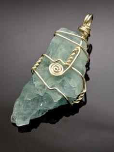 AQUAMARINE Rough Stone Wire Wrapped Pendant by LoveJoyAdornments, $29.00