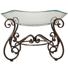 Casa Cortes Hotel Standard Large Glass Bowl Center Piece and Metal (Grey) Stand (Glass) (Art Glass)