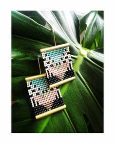 Exclusive beaded earrings, geometric earrings, ethnic earrings, african earrings, boho earrings, seed bead earrings, large brass earrings, by PoliJewelry on Etsy