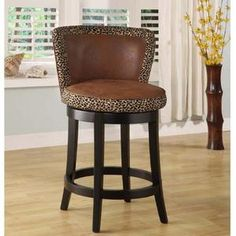 Take care of all your kitchen seating needs with the Armen Living Lisbon Bar Stool. This bar stool features a faux leather seat, which is stylish and comfortable. The frame is made from wood, making it easy to maintain and creating a homey, visually Brown Bar Stools, Wood Bar Stools, Mid Century Bar Stools, Leopard Print Fabric, Leopard Prints, Leopard Spots, Animal Prints, Stoff Design, Swivel Counter Stools