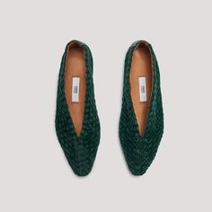 LEAH FOREST GREEN VELVET FLATS by Miista