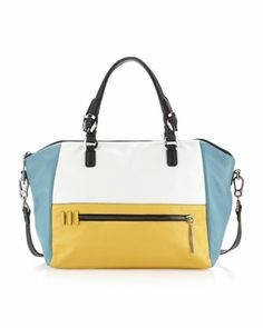 Lambda+Colorblock+Satchel,+Blue/White/Yellow+by+Oryany+at+Neiman+Marcus+Last+Call.