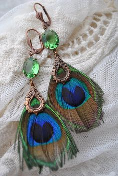 Peacock Gypsy Green Blue Feather Charm Turquoise Bead Leverback Dangle Earrings