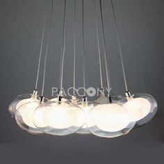 Contemporary Pendant Lights with 10 Glass Lights