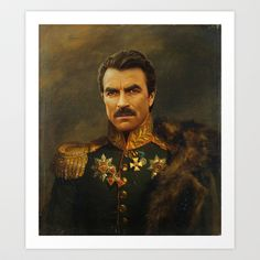 I kind of want this... Tom Selleck - replaceface Art Print by Replaceface - $24.95