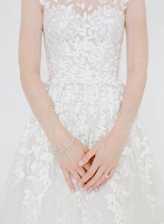 Leaf embellished wedding dress: http://www.stylemepretty.com/2017/04/28/fall-nyc-rooftop-wedding/ Photography: Heather Waraksa - http://heatherwaraksa.com/