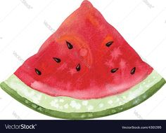 Slice of watercolor watermelon. Download a Free Preview or High Quality Adobe Illustrator Ai, EPS, PDF and High Resolution JPEG versions.