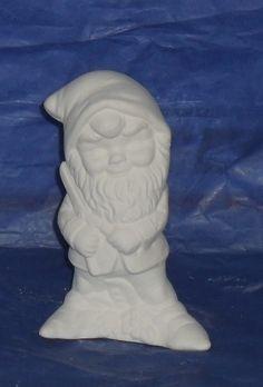 Garden Gnome - Gnome Holding Lawn Sheers - Do It Yourself Ceramic Bisque . Fun craft idea.. $6.00, via Etsy.