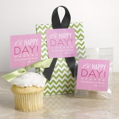 "Cheers to Us - ""Oh Happy Day!"" Favor Seals. #DavidsBridal #Typography #Wedding"