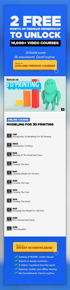 Modeling For 3D Printing Animation, Prototyping, Character Design, 3D Computer Graphics, 3D Modeling, Maya, Creative, 3D, Design Techniques #onlinecourses #onlinetrainingstudent #CoursesFaces    In this class, I will walk you through the process of modeling a character that you can 3D print. We'll be using a simple pencil sketch or any concept art you'd like as our base image to work from. It is g...