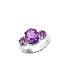 Amethyst & Sterling Silver Oval-Cut Gradient Ring
