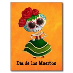 Mlle la mort de Dia de Muertos Mexican Carte Postale