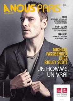 """Article """"Michael Fassbender chez Ridley Scott, un homme, un vrai"""" sur """"A nous Paris"""" magazine, 21 mai 2012. Clic 2X pour lire l'article intégral """"MF, un bien beau robot"""". Prometheus."""