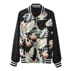 Tropical Print Baseball Jacket With Contrast Sleeves ($27) ❤ liked on Polyvore