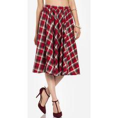 Plaid Midi Circle Skirt