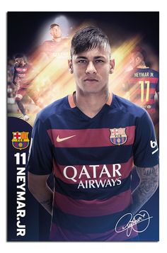 Barcelona- Neymar Poster 24 x FC Barcelona Neymar Soccer Football Sports Poster Neymar Barcelona, Barcelona Team, Messi And Neymar, Lionel Messi, Football Soccer, Football Players, Fifa, Real Madrid, Amor