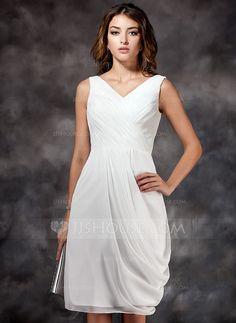 Sheath/Column V-neck Knee-Length Chiffon Bridesmaid Dress With Ruffle (007022516)