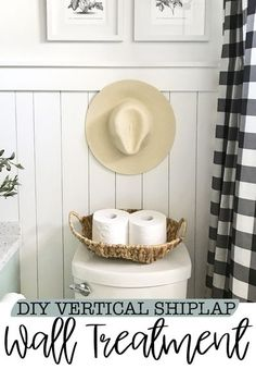 This is the cheap and easy way to achieve a vertical shiplap wainscoting wall treatment. It adds so much character and interest to any room. Love the trim detail so much. Farmhouse Style Decorating, Decorating Your Home, Diy Home Decor, Wainscoting Wall, Diy Upcycling, Half Walls, Ship Lap Walls, Wall Treatments, Diy Projects To Try