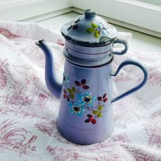 Charming French Antique Enamelware Coffee Pot with filter, Hand-painted, Lilac…