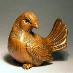 Wood Carving of a Dove Netsuke