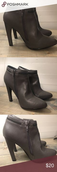 SALE Cynthia Rowley Boot with Heel Cynthia Rowley Booties with Heel  Side zip; 4.5 inch  Size 8; Gray  One scuff on front left shoe (pictured)  The shoes are in excellent condition. I only wore them twice!! Cynthia Rowley Shoes Ankle Boots & Booties