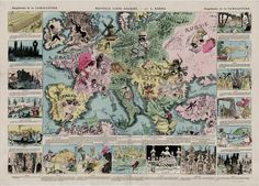 French comical map of Europe (1880)