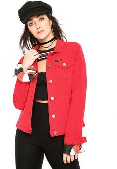 ed51e923075 Jaqueta Sarja Calvin Klein Jeans Color Vermelha