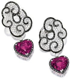 Rubellite, black diamond and diamond pendant ear clips.