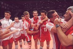 Poland, EuroVolley 2011, right after a bronze medal match. Poland defeated Russia with 3:1! <3