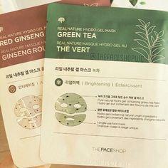 Real Nature Hydro Gel Mask #GreenTea : #brightening #RedGinseng : #antiaging