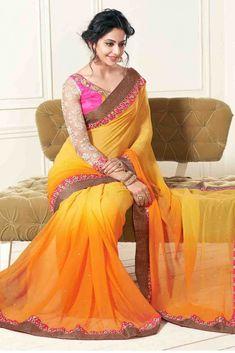 Rakul Preet Singh Photos In Hot Orange Chiffon Saree