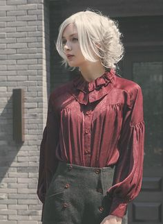 Vintage Casual Boyfriend Fashion Top Womens Oversize Blouse Long Sleeves Green Red (http://www.fanplusfriend.com/steel-rose-gothic-casual-boyfriend-style-slope-shoulder-bishop-sleeves-oversize-blouse-2colors-instant-shipping/)