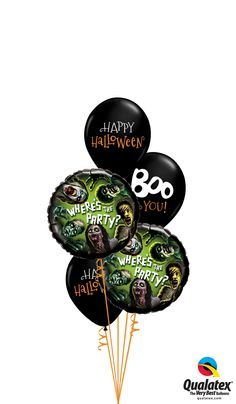 Boo! This #black and #green #balloon bouquet is a great addition to your #Halloween party. #qualatex