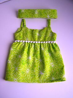 Lime Green White Flower Sundress - Fits 18 inch dolls by AuntSissyOriginals on Etsy