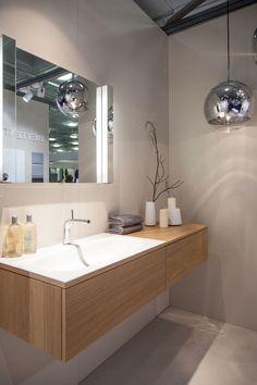 Feng Shui for the Modern Bathroom Wooden Bathroom Vanity, Corner Bathroom Vanity, Floating Bathroom Vanities, Bathroom Sink Design, Bathroom Lighting Design, Modern Bathroom Sink, Rustic Bathroom Decor, Bathroom Light Fixtures, Modern Bathroom Design