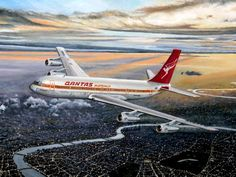 Qantas Airlines, Commercial Plane, Boeing 707, Air New Zealand, Heathrow Airport, Flaxseed, Aviation Art, Aviators, Drones