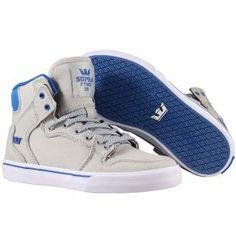 Nouvelle collection printemps-été 2014  Baskets Supra Enfant - Kids Vaider Shoes Grey/Blue-White