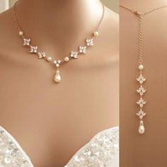 Rose Gold Backdrop Necklace Crystal Backdrop Necklace Pearl Cubic Zirconia Bridal Necklace
