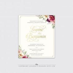 A classic wedding invitation adorned with bold berry toned florals and foiled accents. This invitation consists of 1 x card, printed double sided with envelope included. Making Wedding Invitations, Classic Wedding Invitations, Wedding Stationery, Save The Date Cards, Wedding Designs, Berry, Florals, Envelope, Wedding Inspiration