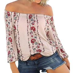 0f3aaaef5bc51 Clearance Women Tops Teen Girls Floral Print Off Shoulder Loose Long Sleeve  Shirts Blouse Casual Pullover