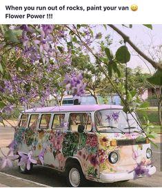 volkswagen purple kombi with flowers Volkswagen Transporter, Volkswagen Bus, Vw T1, Volkswagen Beetles, Bugatti, Maserati, Combi Hippie, Hippie Style, Hippie Boho