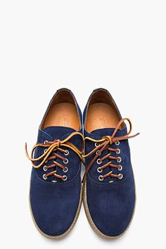 YUKETEN Navy blue leather handfinished Hermosa sneakers
