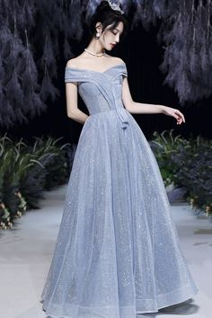 Shiny tulle long A line prom dress evening