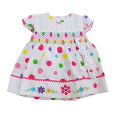 Baby Girls Bright Dotty Dress with Floral Embroidery & Headband 3-6m
