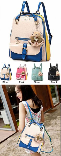 Which color do you like? Fashion Contrast Color Preppy School Backpack #fashion #school #backpack #bag #contrast #preppy