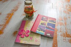 Homemade journals and writing prompt jar with writing prompt suggestions. The Unlikely Homeschool