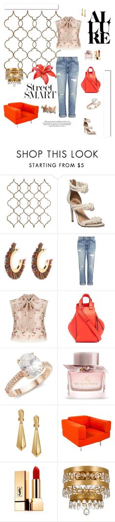 """""""Untitled #760"""" by xocolate ❤ liked on Polyvore featuring Current/Elliott, Needle & Thread, Loewe, Saks Fifth Avenue, Burberry, Oscar de la Renta, Cassina, Yves Saint Laurent, White Label and Olsen"""
